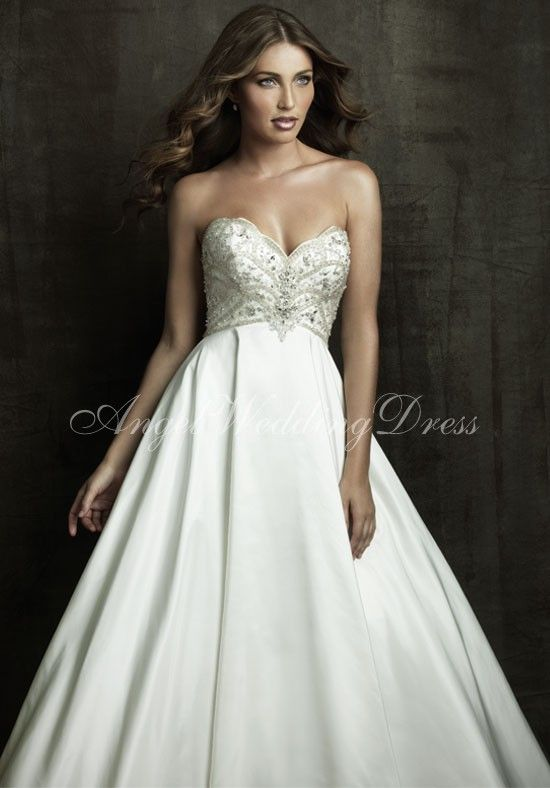 Rich Taffeta Ball Gown Sweetheart Floor Length Beading Wedding Dress Style WD63370 at Angelweddingdress