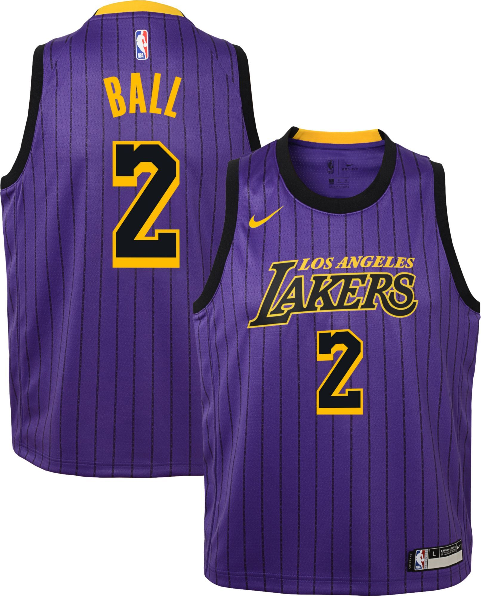 official photos a3b86 af6ae Nike Youth Los Angeles Lakers Lonzo Ball Dri-FIT City ...