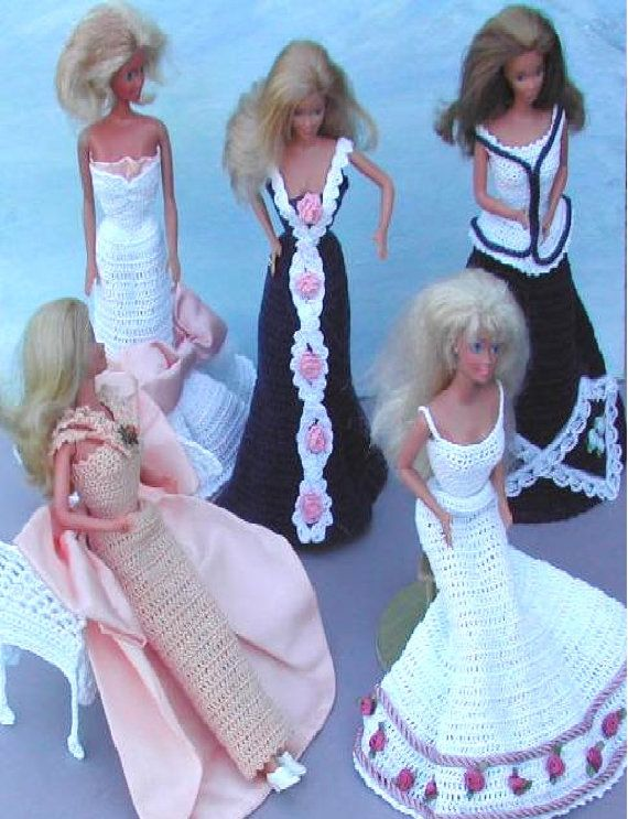 Crochet Fashion Doll Barbie Pattern- #306 OLD FASHIONED EVENING ...