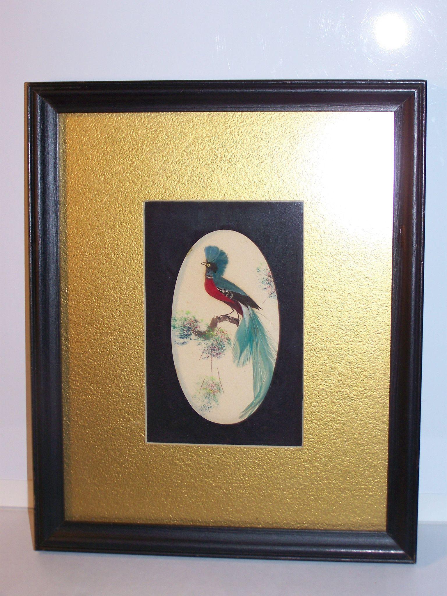 Framed dbl mat feather bird painting vintage (frame 9.5x11.5 ...