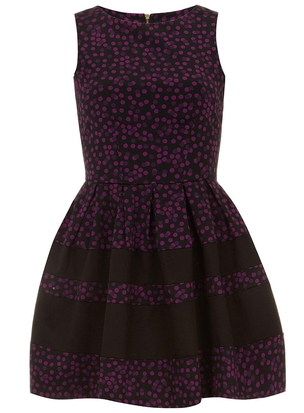 Purple spot contrast dress - Party Dresses - Party - Dorothy Perkins