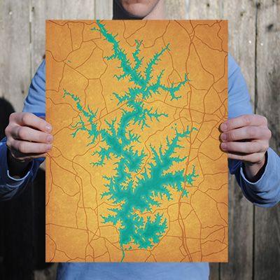Lake Norman City Prints Map Art Map Art City Prints Art