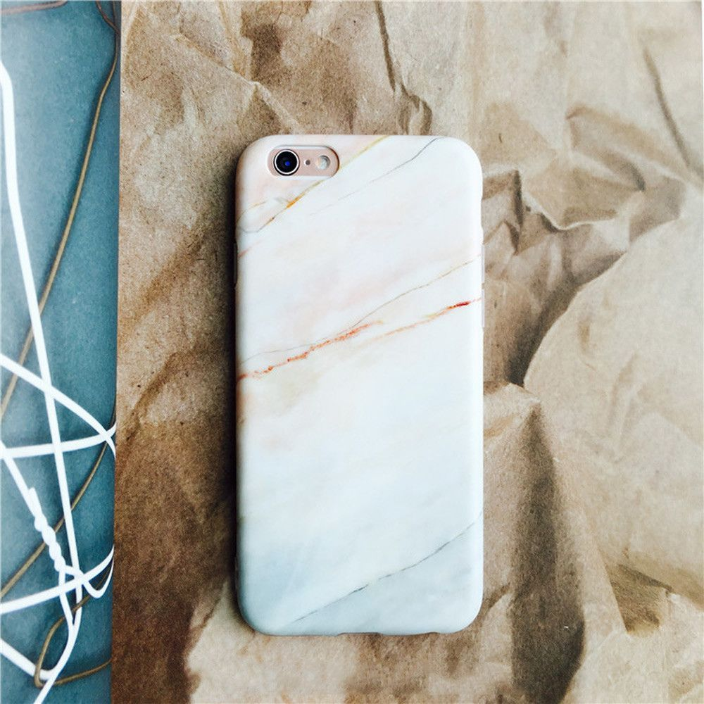Pinky White Marble Matte Soft Slim Cover For iPhone 6 s 7 7Plus ...