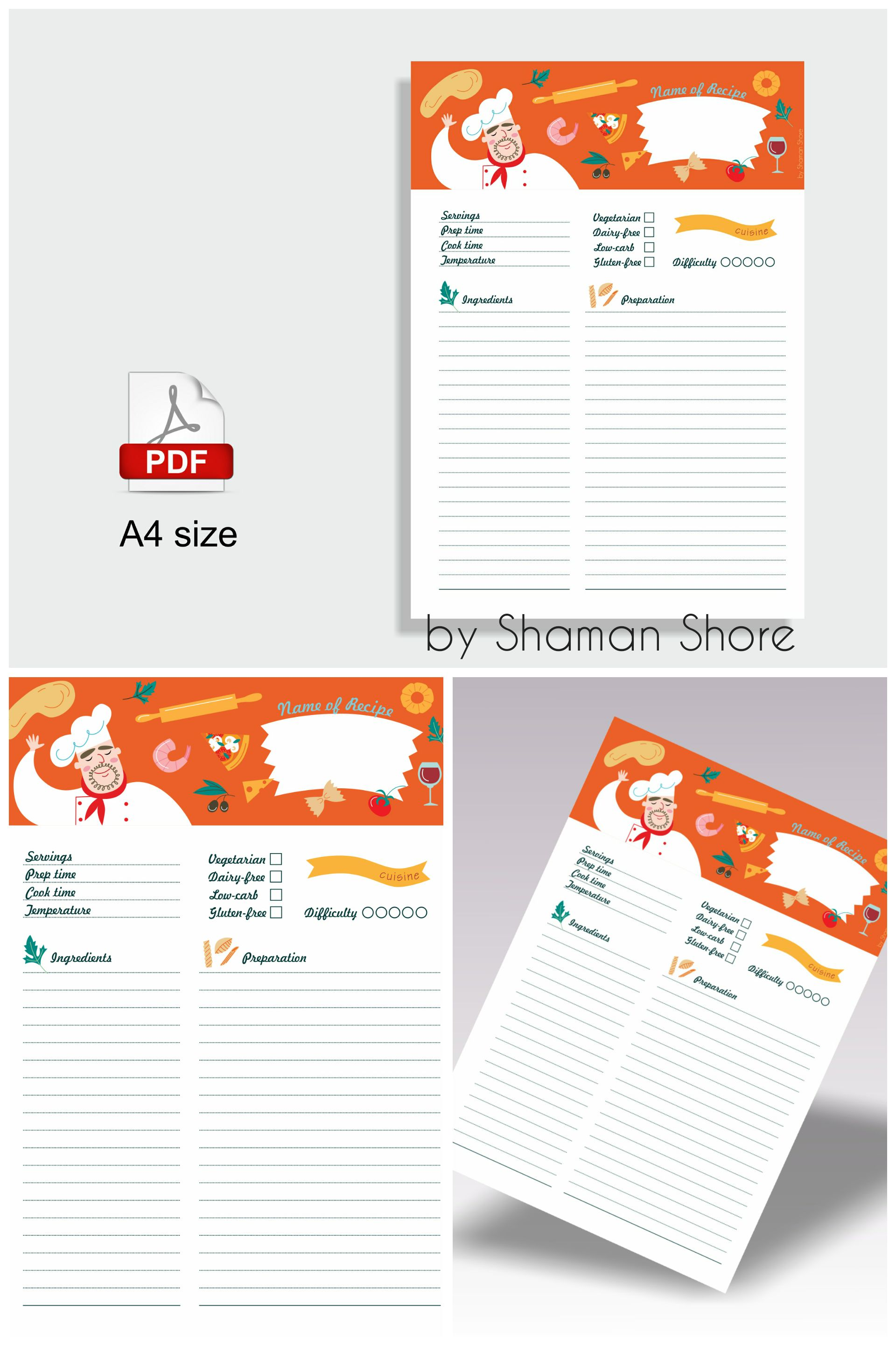 Planner Page Templates Amusing Recipe Page Template Color Recipe Templates Recipe Planner .