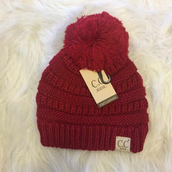 9c54d975c45 Kids Red Pom Pom CC Beanie New with tags Accessories Hats