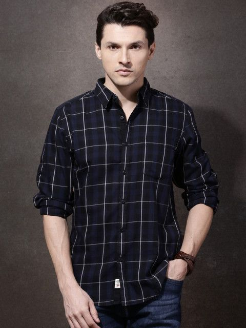 Buy Roadster Men Navy Checked Casual Shirt - Shirts for Men | Myntra