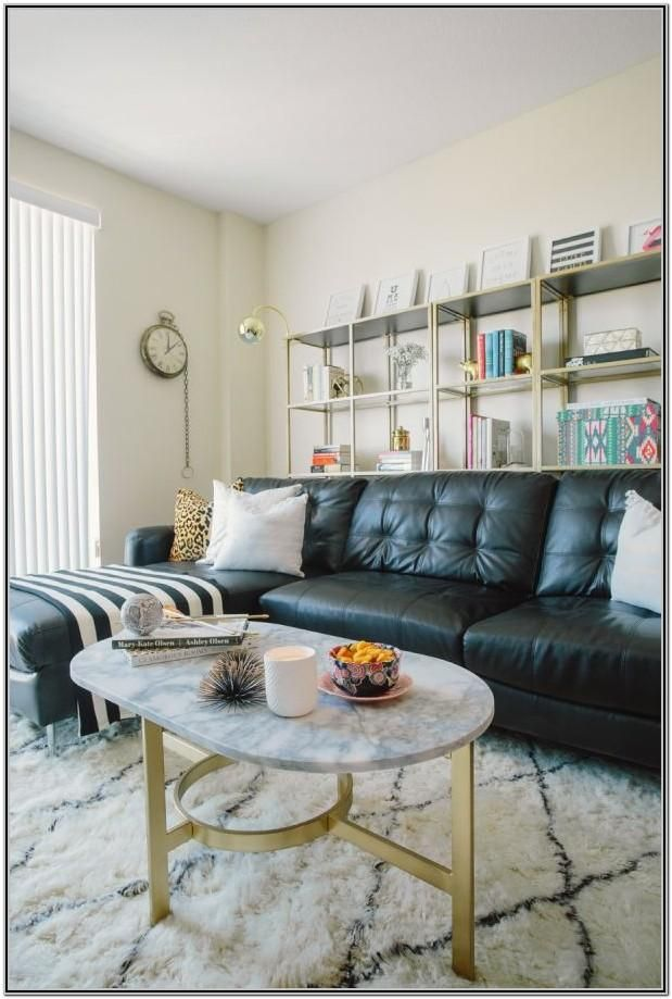 Living Room Decor With Black Leather Couch by Joe Perry di ...
