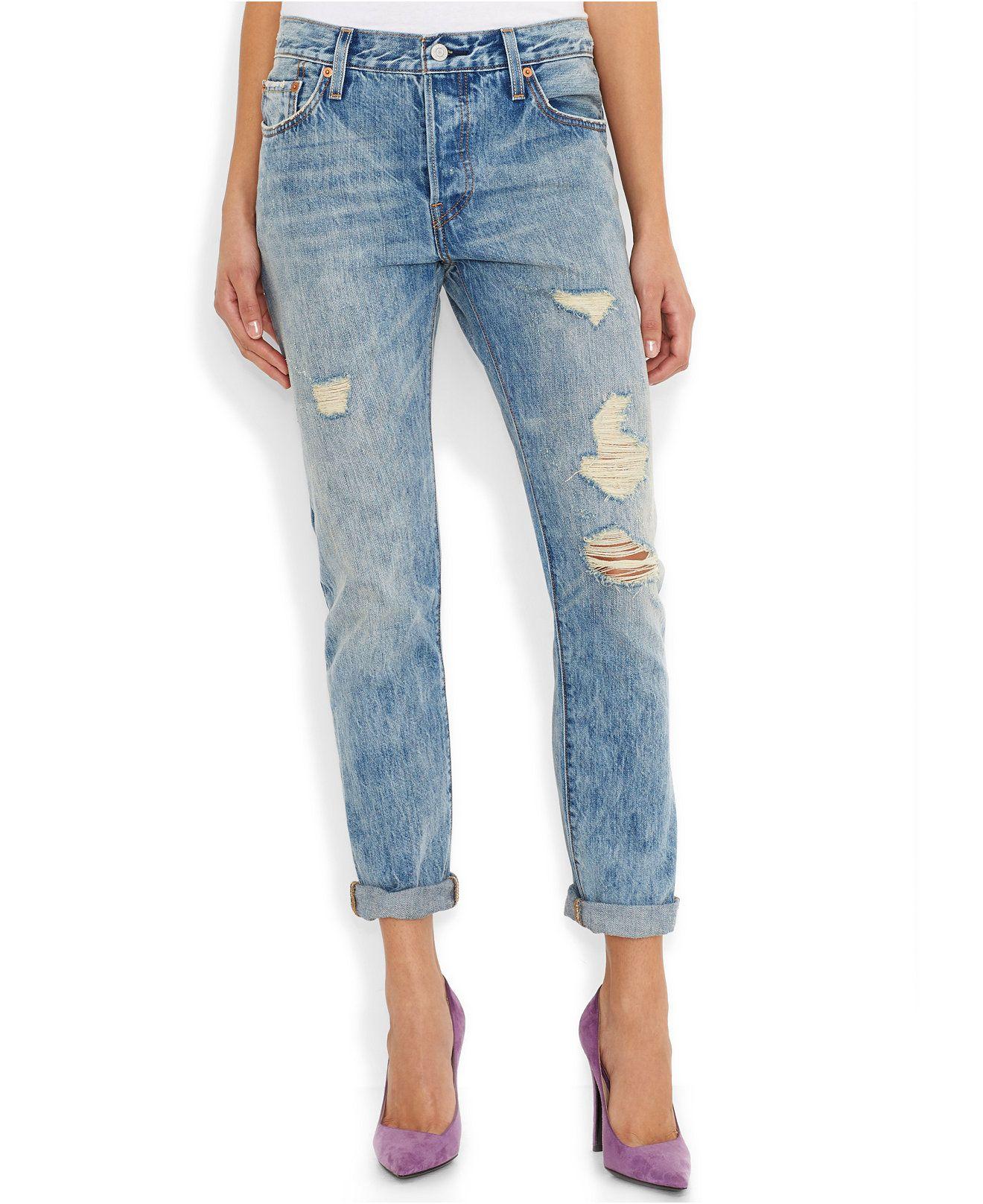 2e31392dc6b Levi's® 501 CT Customized and Tapered Boyfriend Jean, Torn Indigo - Juniors  Jeans - Macy's