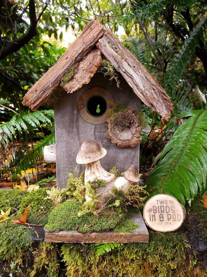 Rustic birdhouse hobbit birdhouse fairy birdhouse whimsical birdhouse