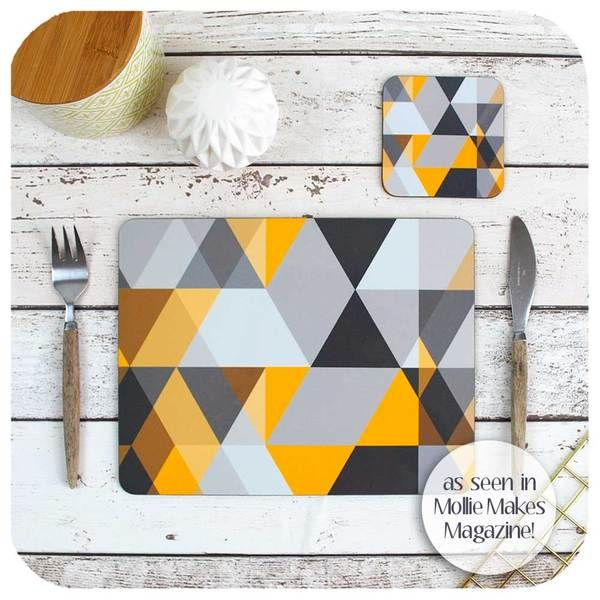 Scandi Geometric Placemat And Coaster The Inkabilly Emporium Yellow Placemats Geometric Placemats