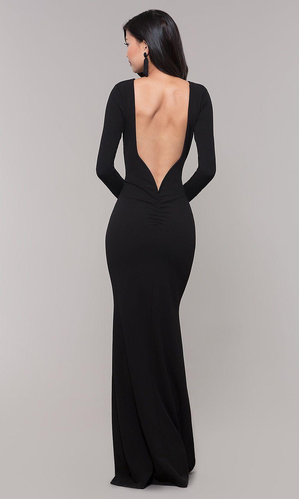 Open Back Long Black Prom Dress With Long Sleeves Black Tie Event Dresses Long Sleeve Black Gown Long Sleeve Dress Formal