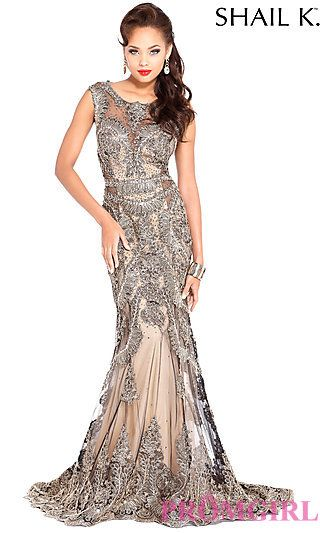 9000d260434 Long Embroidered Gold Sheer Back Prom Dress by Shail K at PromGirl ...