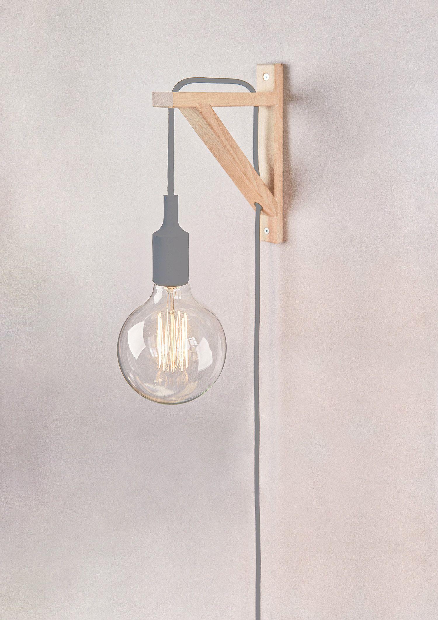 Aplique De Pared Apliques Madera Nordico Aplique De Pared Cable Tela Lampara De Madera Nordica Aplique Es Plug In Wall Sconce Plug In Wall Lights Wall Lamp