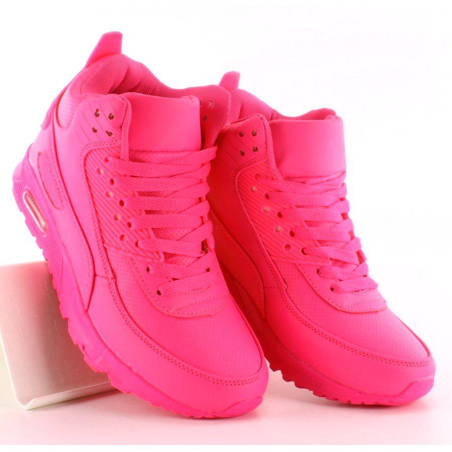 Sportowe Damskie Obuwiedamskie Rozowe Obuwie Sportowe Za Kostke B3701 Fushia Obuwie Damskie Shoes High Top Sneakers Wedge Sneaker