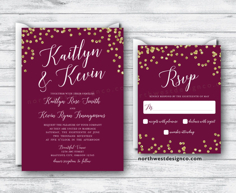 Maroon Gold Wedding Invitation Reply Card Set Wine Themed Boho Suite Burgundy Invite RSVP