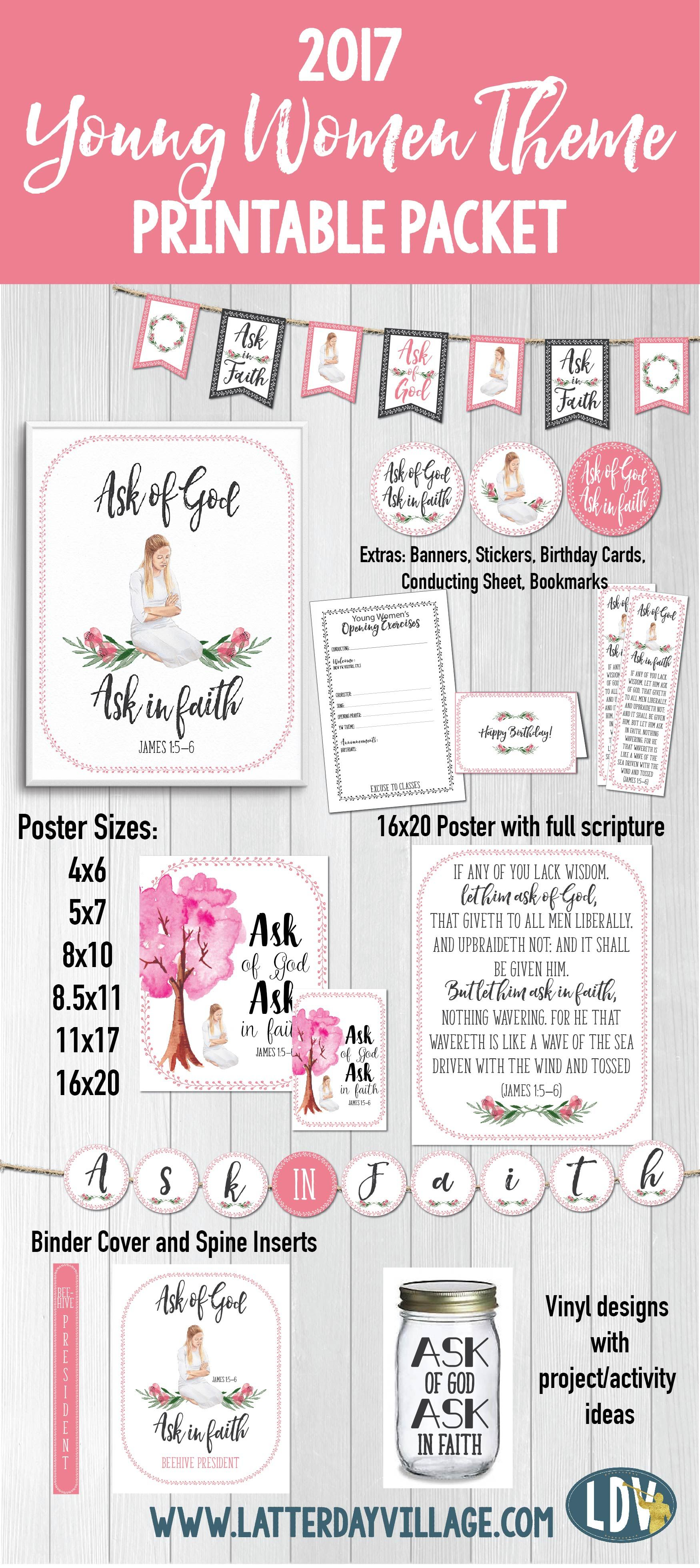 Young Women Theme Printable Packets Includes Posters Bookmarks Banners Binder Covers