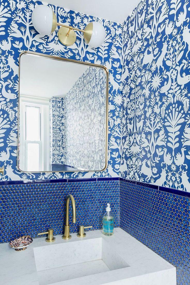 powder room wallpaper ideas  blue bathroom tile powder