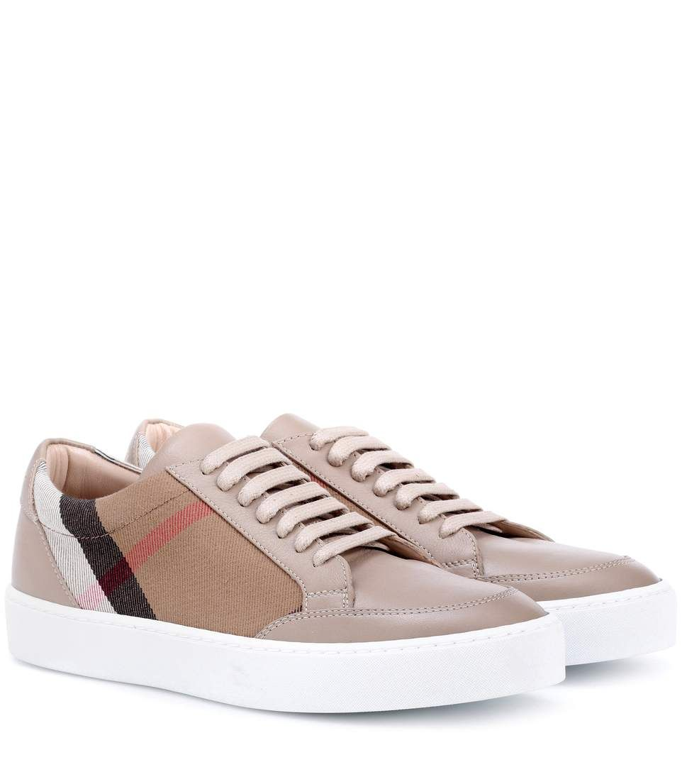 Salmond leather and fabric sneakers Burberry D4GH7kx