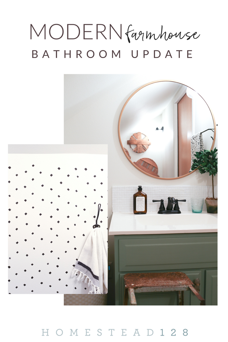 The bathroom is updated with a diamond pattern wall, green cabinets ...