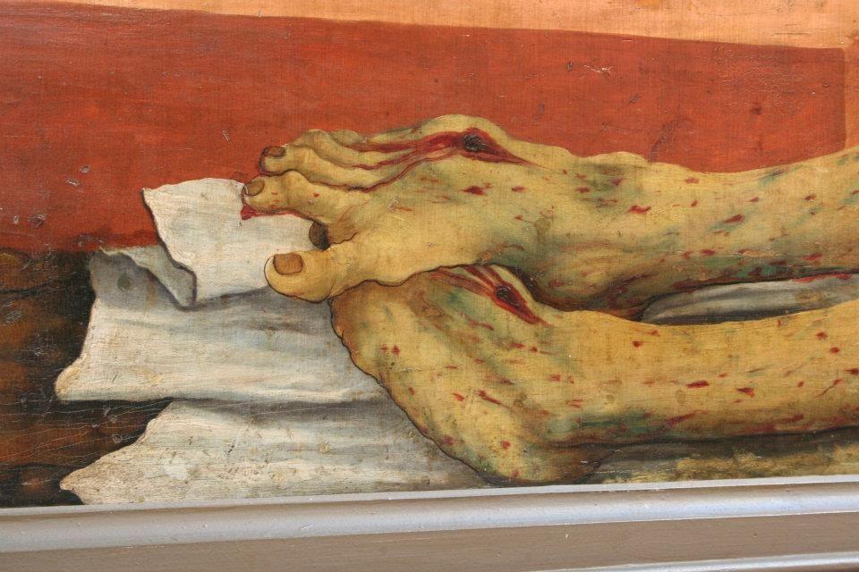 Isenheim Altarpiece, by Matthias Grünewald (Mathis Gothart Neithart), detail of Christ's feet from the predella, 1515, Musée d'Unterlinden, Colmar, France source: http://drc.kenyon.edu/handle/2374.KENY/2158