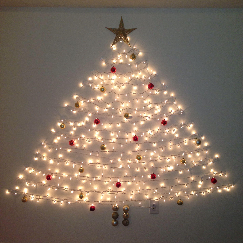 Wall Christmas Tree Command Hooks And Lights Wall Christmas Tree Easy Christmas Decorations Modern Christmas Tree