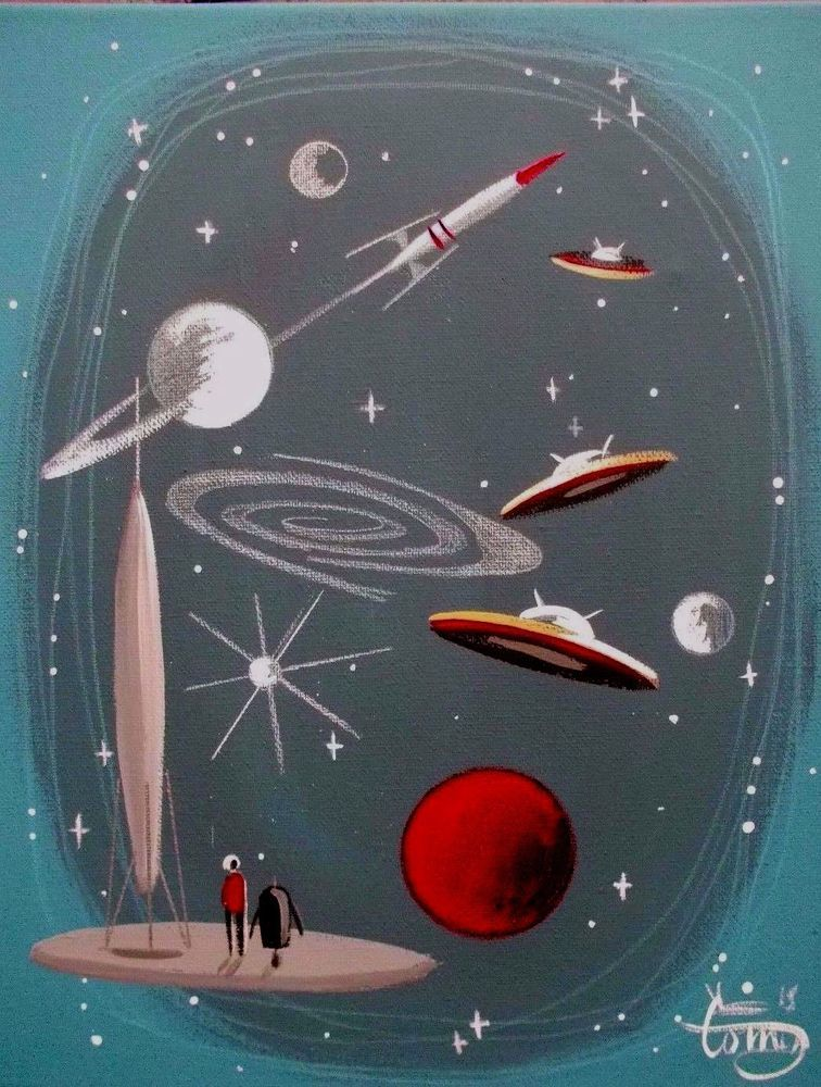 El gato gomez painting retro outer space ship rocket robot for Outer space poster design