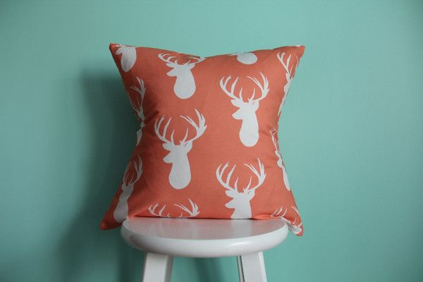 Coral Deer Pillow Cover. H's room.