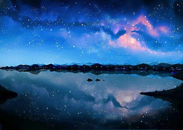 Water, Houses, Starry Sky, Night Sky; Anime Scenery