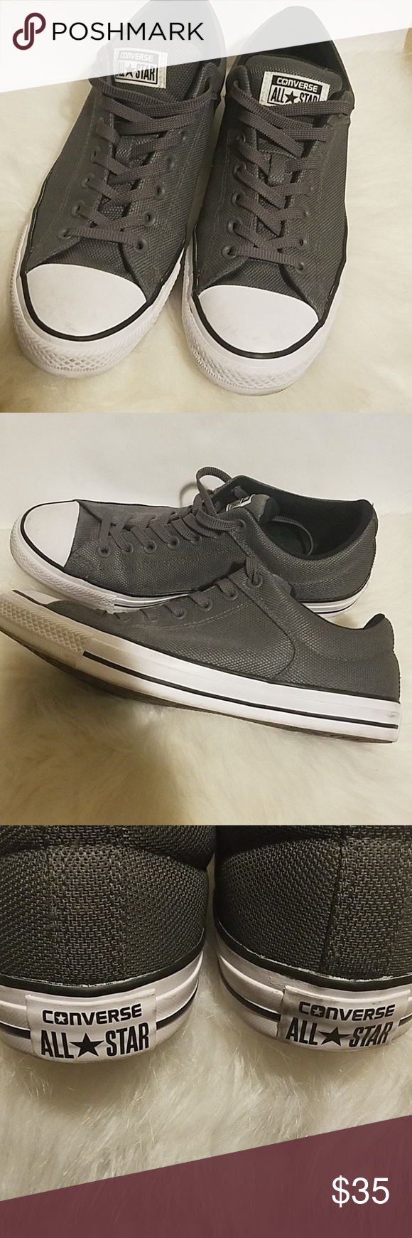 CONVERSE ALL STARS Pre-owned but only worn a couple times gray Converse All  Stars they are gray with gray laces trimmed in white and black great  condition ... 5ffeaa81b