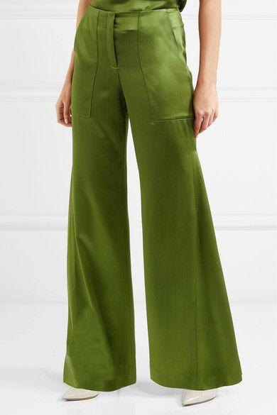 Patton Silk-satin Wide-leg Pants - Green Hellessy YPHIMs