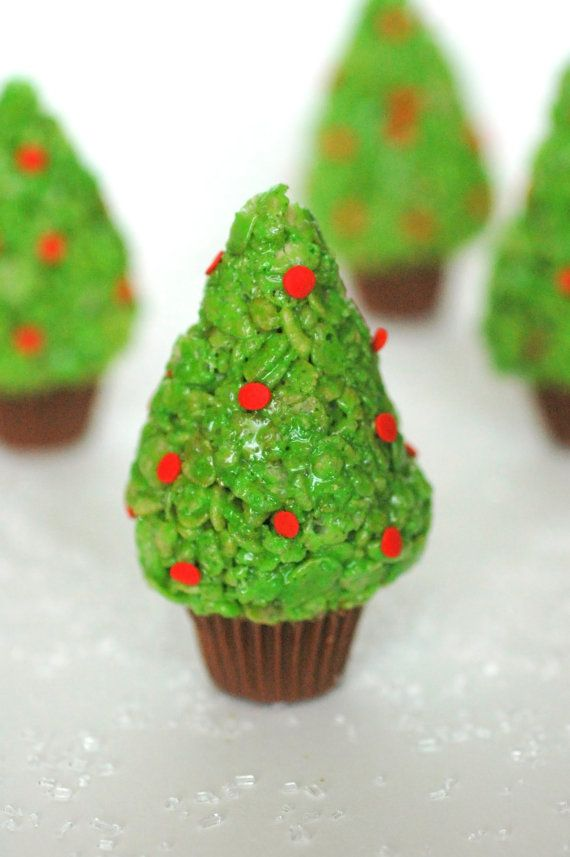 Rice Krispie Treat Christmas Trees 12 Edible Favor by crumbtastic