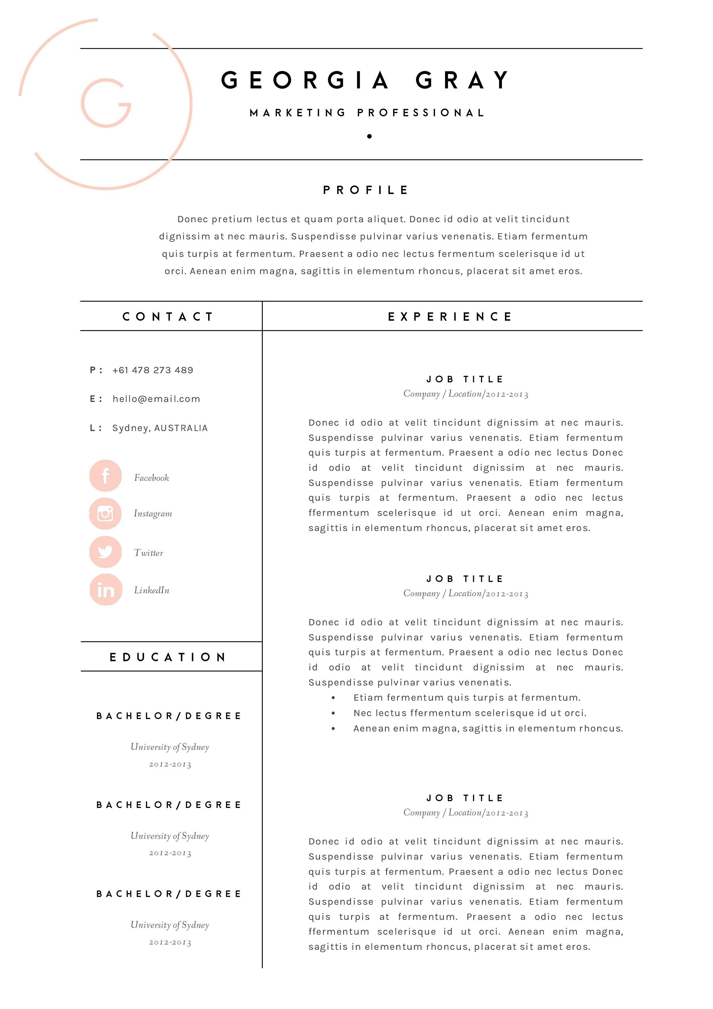 Resume Template 3 Page Cv Template By The Template Depot On Creativemarket Resume Design Layout Resume Layout Resume Design