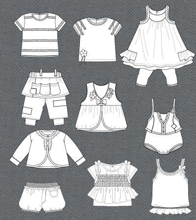 set-fashion-flat-sketches-baby-girl Flats - vectores / NIÑOS