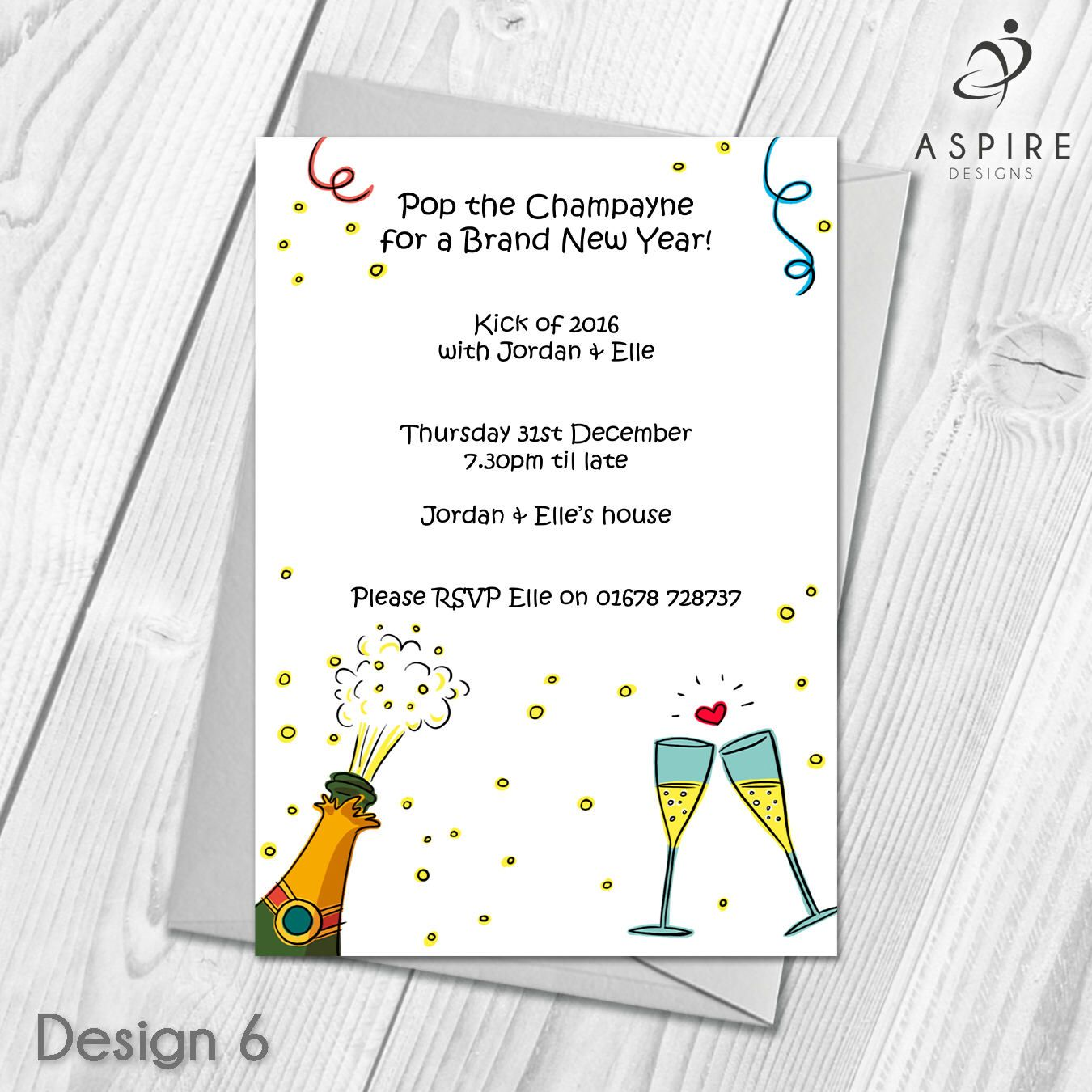Personalised New Years Eve Party Celebration Invitations