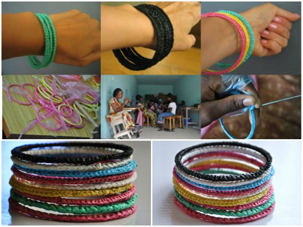 Recycled Plastic Bags Bracelets With
