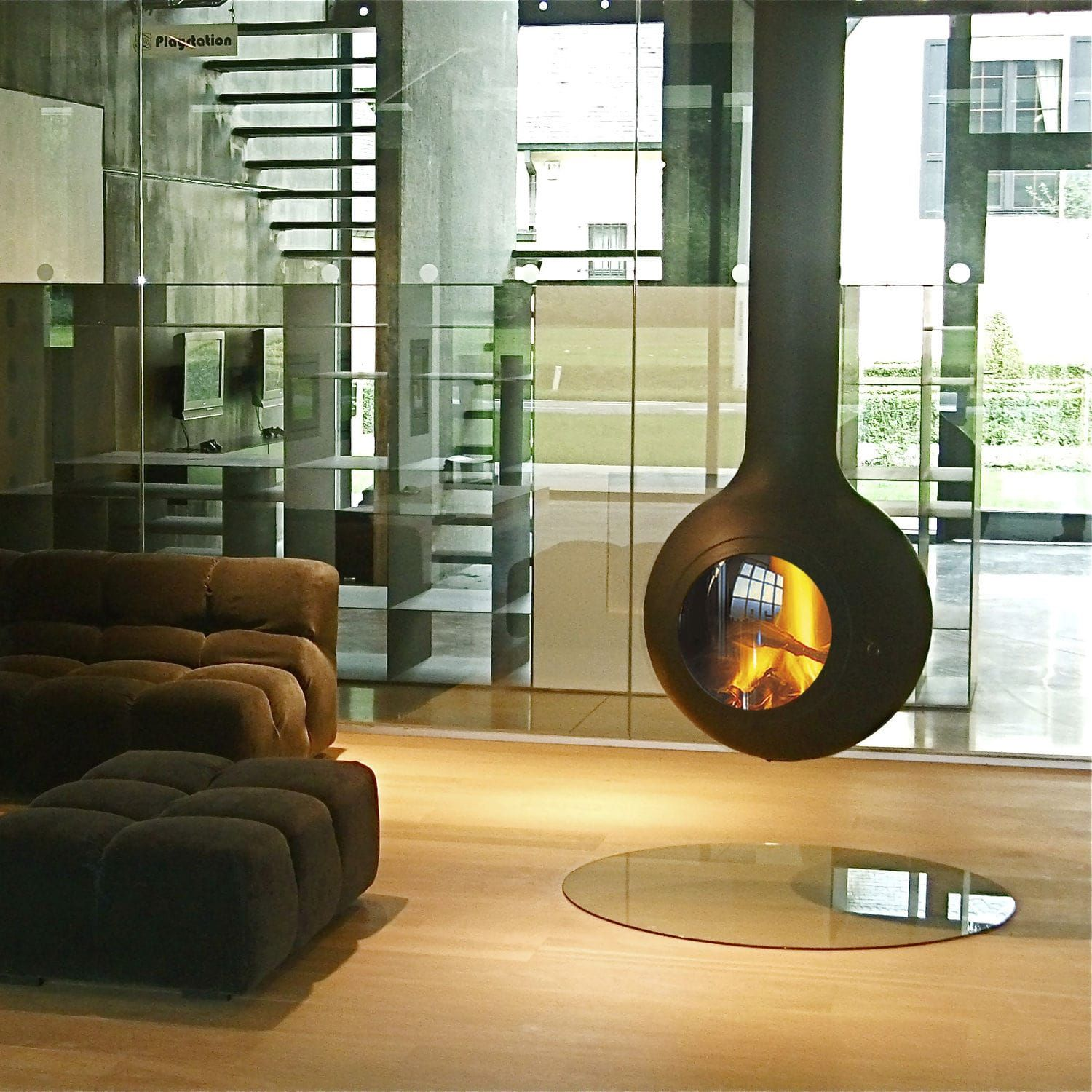 20 Suspended Fireplace Designs In The Living Room