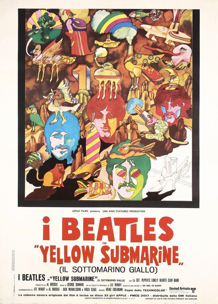 Original R70s Italian Beatles Poster Yellow Submarine Beatles