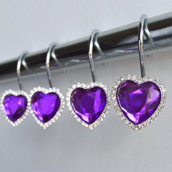 Shower Curtain Hooks Rings Heart Purple Cute By Americancuteness