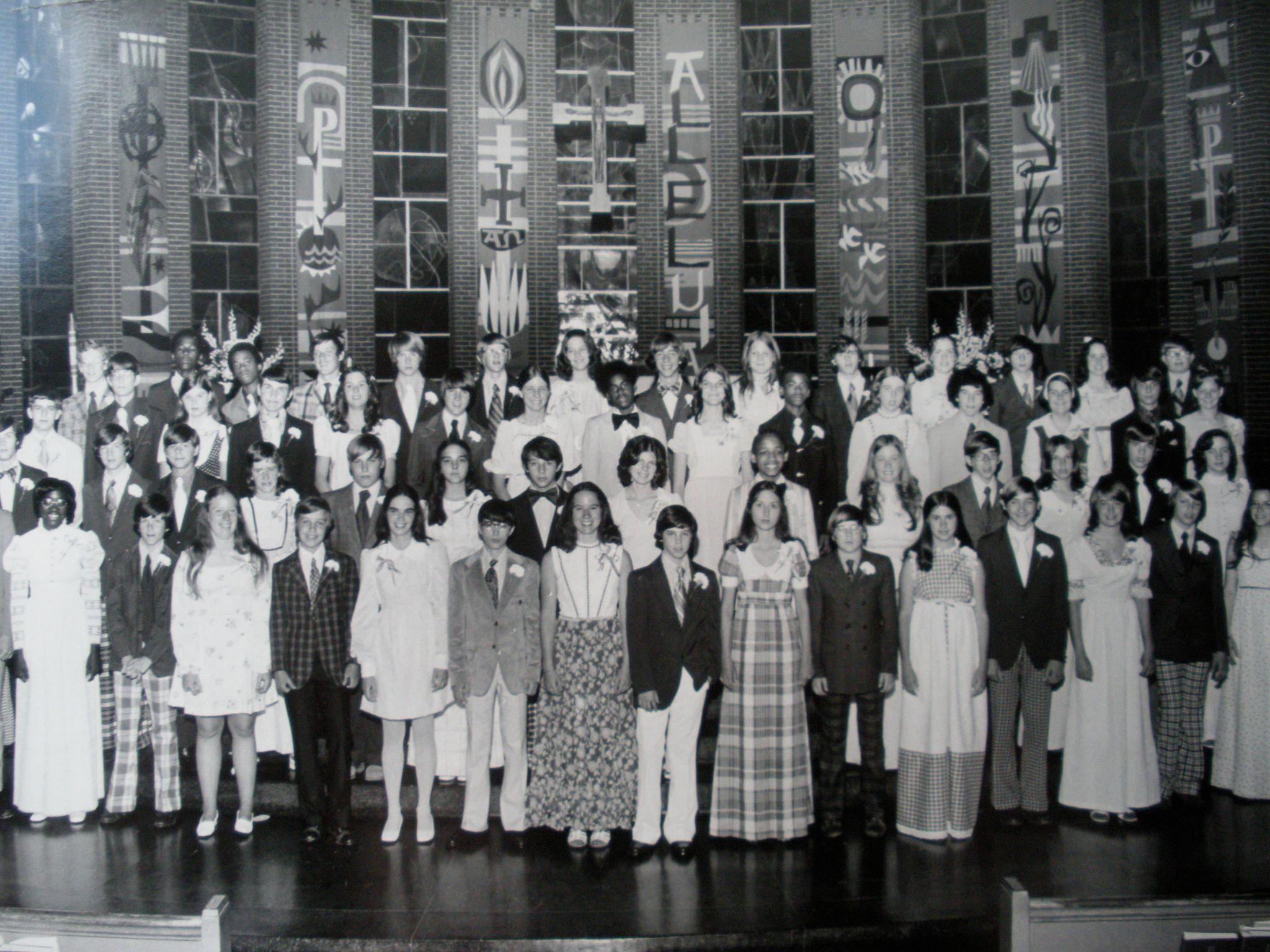 1973 St Peters eighth grade class, Kirkwood, Mo Growing
