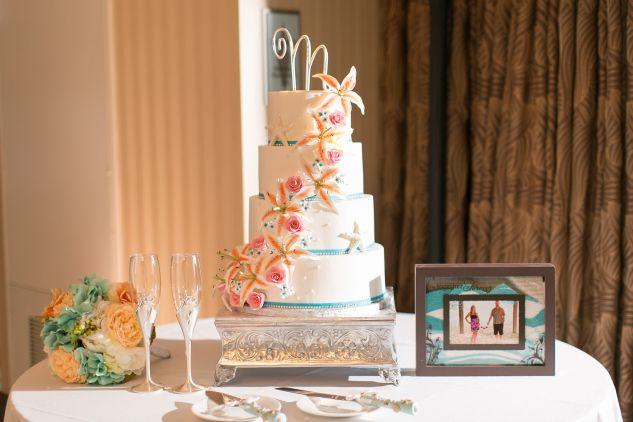 Beach Inspired Wedding Cake At Oceanaire Resort Hotel