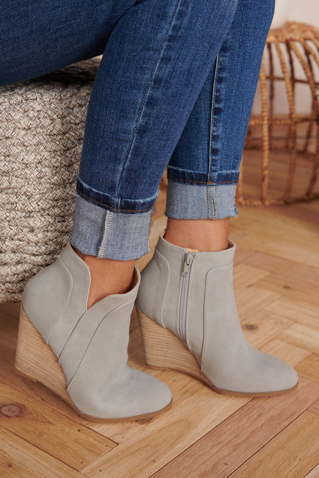 One Wish Wedge Booties (Grey) #booties