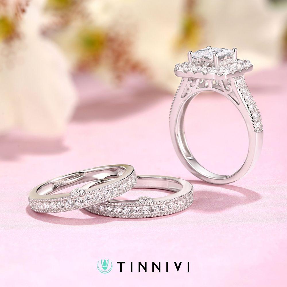 Women\'s Princess Cut White Sapphire 925 Sterling Silver Engagement ...