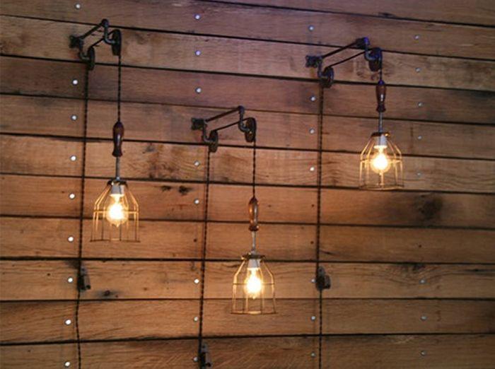 Decoraci n con l mparas de polea y estilo industrial - Iluminacion estilo industrial ...