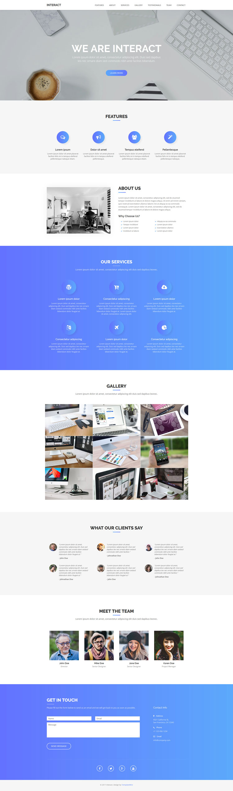 Interact - Free One Page Bootstrap Template | TemplateWire ...