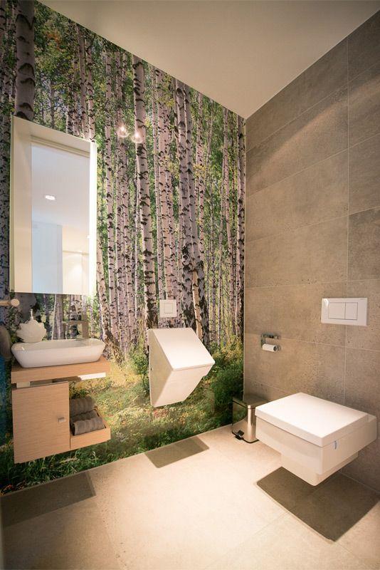 Gäste WC Mit Wandbündigem Birkenwaldmotiv Auf Alu Dibond By  Www.flow Architektur