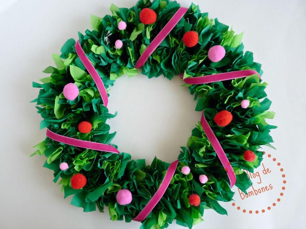 Corona de navidad hecha con papel de seda paso a paso step for Coronas de navidad