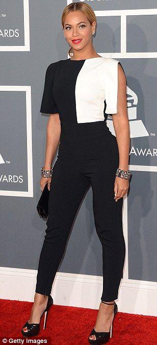 303cb6072d8 Beyoncé wore an Osman black crepe jumpsuit with white panel detailing