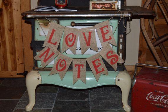 love notes burlap banner rustic wedding guest book by KohnenKorner