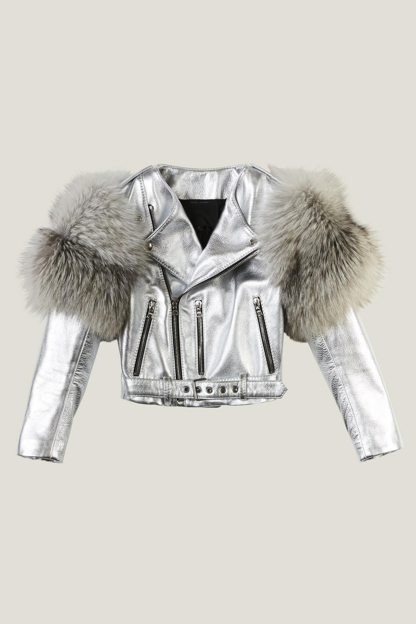 Metallic Moto Leather Jacket With Fur Sleeves Одежда