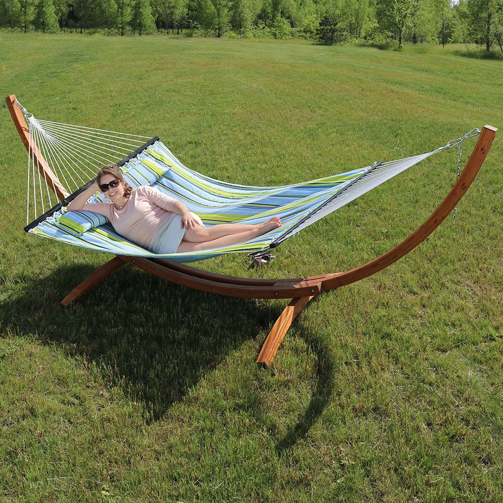Sunnydaze Quilted Double Fabric 2 Person Hammock With Curved Arc